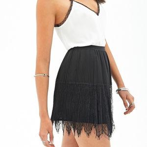 Black Pleated Eyelash Lace Skirt, NWOT